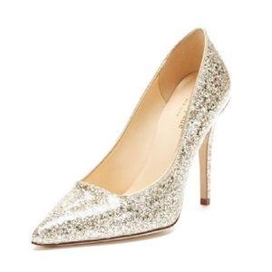 NWOT Kate Spade Lollipop gold glitter heels Sz 7